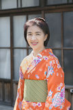 Woman wearing kimono in Kawagoe old town ,Japan Royalty Free Stock Photography
