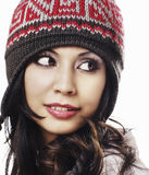 Woman wearing kit wool ski hat Stock Photo
