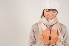 Woman wearing knit hat. Looking down Stock Image