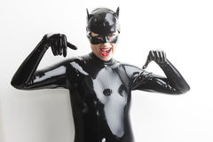 Woman wearing latex clothes Royalty Free Stock Images