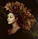 Woman Wearing Leaf Maked Hat Stock Images
