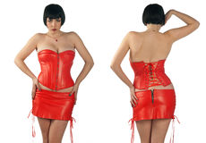 Woman wearing leather corset Royalty Free Stock Images