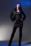 Woman wearing leather jacket Stock Photo