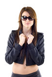Woman wearing leather jacket and pants Stock Images