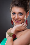Woman wearing leather jewlery Royalty Free Stock Image