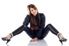 Woman wearing leather outfit Royalty Free Stock Photography