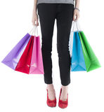 Woman Wearing Leggings Carrying Shopping Bags Royalty Free Stock Photography