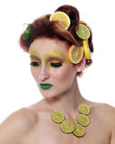 Woman Wearing Lemon and Lime as Art Royalty Free Stock Photo
