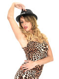 Woman Wearing Leopard Print Top and Hat Royalty Free Stock Images