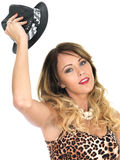 Woman Wearing Leopard Print Top and Hat Royalty Free Stock Photos