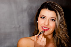 Woman wearing lipstick Stock Photo