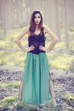 Woman wearing long dress in a forest Stock Photography
