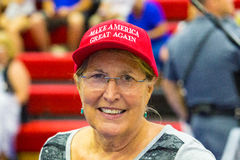 Woman Wearing Make America Great Again Hat stock photo