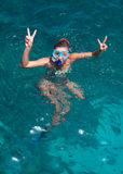 A woman wearing a mask for diving Royalty Free Stock Images