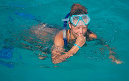 A woman wearing a mask for diving Royalty Free Stock Photos