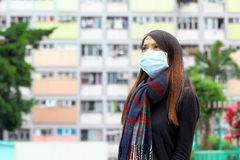 Woman wearing medical face mask Royalty Free Stock Photo