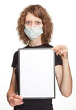 Woman wearing medical gauze bandage. Showing blank clipboard, copy space Stock Image
