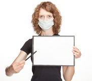 Woman wearing medical gauze bandage. Showing blank clipboard, copy space Stock Images