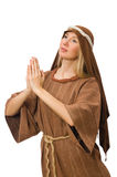 The woman wearing medieval arab clothing on white Stock Photography