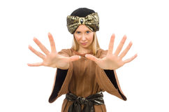 The woman wearing medieval arab clothing on white Stock Photo