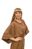 The woman wearing medieval arab clothing on white Royalty Free Stock Image