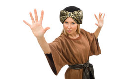 The woman wearing medieval arab clothing on white Royalty Free Stock Photo