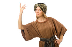 Woman wearing medieval arab clothing on white Royalty Free Stock Images