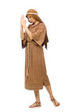 The woman wearing medieval arab clothing on white Royalty Free Stock Images