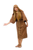 The woman wearing medieval arab clothing on white Stock Photos
