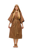 The woman wearing medieval arab clothing on white Royalty Free Stock Photography