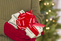 Woman Wearing Mittens Holding Stacks of Money with Red Ribbon Stock Photography