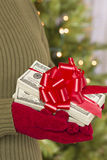 Woman Wearing Mittens Holding Stacks of Money with Red Ribbon Royalty Free Stock Photo