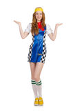 The woman wearing motorsports clothing on white Royalty Free Stock Photo