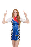 The woman wearing motosports clothing on white Stock Photography