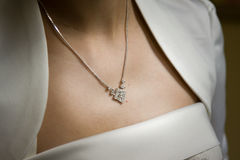 Woman wearing necklace Stock Image