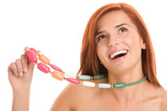 Woman wearing necklace Stock Images