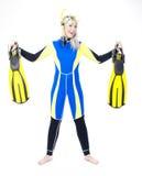 Woman wearing neoprene. Standing young woman wearing neoprene with snorkeling equipmant Stock Photo