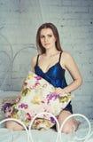 Woman wearing nightgown Stock Photo