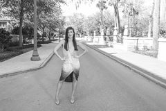 Woman Wearing Ombre Sleeveless Dress Grayscale Photography Royalty Free Stock Photos