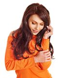 Woman wearing orange sweater. Stock Photos