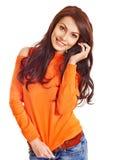 Woman wearing orange sweater. Stock Photography