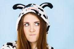 Woman wearing pajamas cartoon angry expression Royalty Free Stock Images