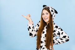 Woman wearing pajamas cartoon pointing Royalty Free Stock Photo