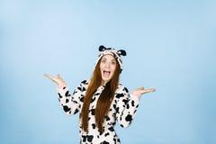 Woman wearing pajamas cartoon surprised face Royalty Free Stock Photography