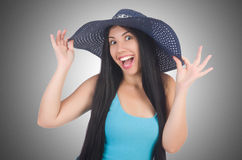 Woman wearing panama ready Stock Photo