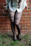 Woman wearing pantyhose. Woman wearing sexy black pantyhose Royalty Free Stock Photo