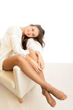 Woman wearing pantyhose Stock Photo