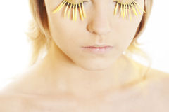 Woman wearing petal eyelashes Royalty Free Stock Photos