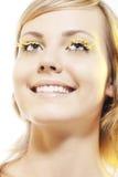 Woman wearing petal eyelashes Royalty Free Stock Photography