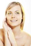 Woman wearing petal eyelashes Royalty Free Stock Images